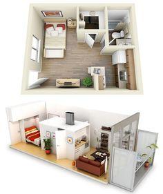 10 Ideas for One bedroom Apartment Floor Plans - http://www.amazinginteriordesign.com/10-ideas-one-bedroom-apartment-floor-plans/