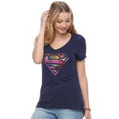 Juniors' Superman Classic Shield Graphic Tee, Teens, Size: Medium, Blue (Navy)