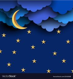 Blue paper clouds on night sky with paper moon and stars. Background for design, greeting card, poster, banner,paper art design and craft style. Paper Moon, Paper Clouds, Paper Stars, 3d Paper, Paper Crafts, Boite Explosive, Adobe Illustrator, Moon Vector, Vector Vector