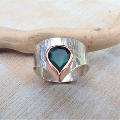 Green Agate Silver and Copper Ring Copper Rings, Sterling Silver Rings, Boho Designs, Green Agate, Rings For Men, Jewels, Jewellery, Crystals, Artwork