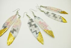 Tribal Feather Earrings, aztec earrings, tribal feather jewelry accessories. $12.00, via Etsy.
