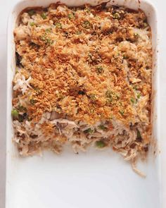 Creamy Chicken and Rice Casserole   Martha Stewart Living - This nostalgic dish evokes the Old School casseroles your grandmother used to make. Transforms rotisserie chicken and precooked rice (or leftover rice) with this quick and delicious weeknight meal.
