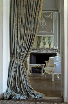 La Maison Gray INTERIORS. Love the puddled curtains.