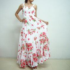 Lady Party Red Roses Maxi Dress Free Size Fit All by SeasonChange, $59.00