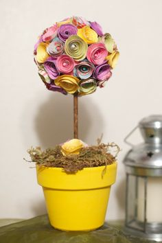 Spring Easter Paper Flower Topiary by thechattel on Etsy, $37.00