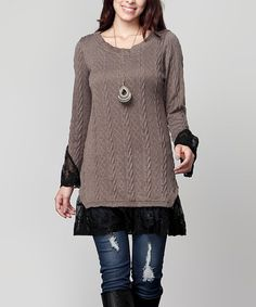 Love this Charcoal Cable-Knit & Black Lace Layered Tunic - Plus on #zulily! #zulilyfinds