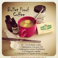 You have not truly enjoyed all the benefits of coffee until you've gone BULLET PROOF! This lovely cup of coffee not only gives you a great dose of healthy fats but I have found a renewed energy, in drinking it, that is amazing. Not only that but if I have this with or before my breakfast …