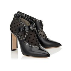 Black Shiny Leather and Polka Dot Flocked Mesh Pointy Toe Booties... ($1,265) via Polyvore featuring shoes, boots, ankle booties, black pointed toe booties, jimmy choo boots, leather boots, pointed toe booties and black leather booties