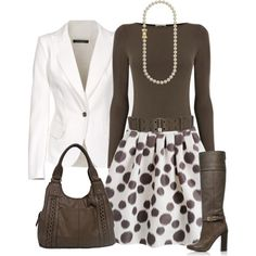 jacket, skirt, work clothes, fashion, boot, polka dots, blazer, circular reason, work outfits