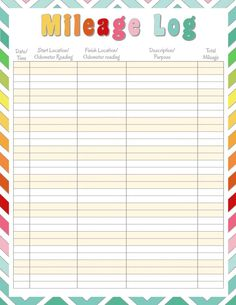 diy home sweet home: Home Management Binder - Mileage Log