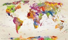 Maps are awesome as tapestries. Destination map or world/country/state