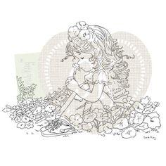 Sarah Kay Stamps - Juliet in the field of nasturtiums