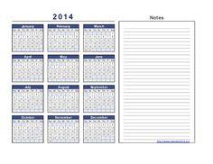 2014 Calendar Excel Format