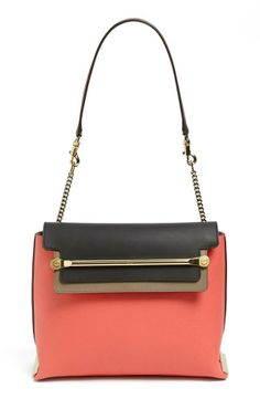 Sophistication never looked so good | 'Clare' Tricolor Leather Shoulder Bag by Chloé