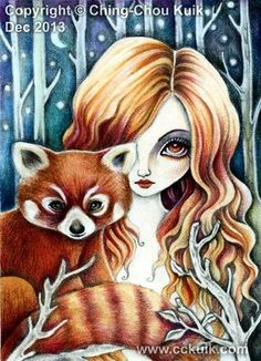 ORIGINAL ACEO Painting Animal Red Panda Forest Fairy Girl Fantasy Lowbrow Art