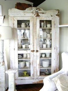repurposed cabinet for living room storage