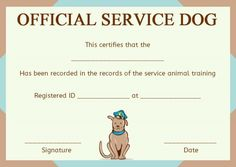 Service dog training certificates template service dog service dog training certificate template yadclub Choice Image