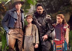 The stars of Pan—Garrett Hedlund as Hook, Levi Miller as Peter Pan, Hugh Jackman as Blackbeard, and Rooney Mara as Tiger Lily—photographed on the film's set outside London. Photograph by Greg Williams. Pan Movie, Garrett Hedlund Pan, Narnia, Lost Boys Costume, Levi Miller, Greg Williams, Adventure Trailers, Peter And Wendy, Character