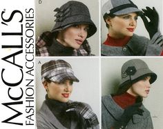 Vogue V8941 Vogue Pattern Service 2013© Uncut OOP Sewing Pattern Hats: Lined hats with dome or bucket styling. Hat A,C: Contrast Band. Hat B: Contrast band, bow and crown overlay. Hat D: Contrast band and overlay. C,D: Button Contrast.  18 printed pattern tissues. Average difficulty.  Size All sizes in one package Head 20.5 - 21.5 - 22.5 - 23.5 Uncut - Factory Folds. The envelope is lightly bumped at the corners and edges  To view more Hats and Accessories Patterns…