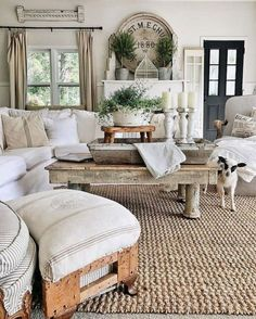 This farmhouse living room is so cozy. Like the mantle Topiaries, grainsack pillows. Gorgeous French Country Living Room Decor Ideas Source by laniefave Farmhouse Decor Living Room, Home Living Room, Farm House Living Room, French Country Decorating Living Room, Home Decor, Room Remodeling, Living Room Decor Rustic, Living Decor, Rustic House