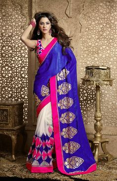 Violet Blue and Pink Georgette Saree