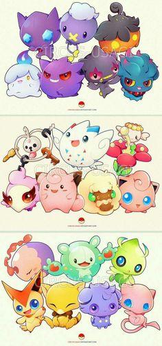 ghosts, fairies and psychic pokemon oh so cute there chibi. Pokemon Fusion, Mega Pokemon, Pokemon Pins, Pokemon Fan Art, Banette Pokemon, Pokemon Fairy, Ghost Type Pokemon, Pokemon Mew, 365 Kawaii