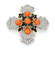 Vintage KENNETH JAY LANE RHINESTONE CORAL CAB MALTESE CROSS PIN BROOCH PENDANT  #KennethJayLane