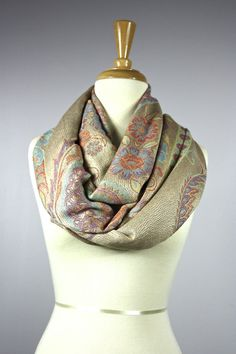 Grey Floral Scarf Ladies Cream Paisley Style Flowers Flower Wrap New Gift Idea