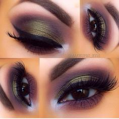 Evergreen and mauve & purple eyeshadows