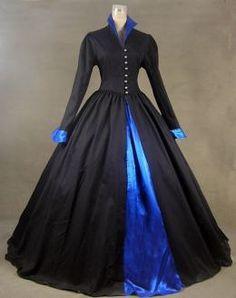 Renaissance Fair Queen Elizabeth I Tudor Gothic Steampunk Black Period Dress Theatre Halloween Costume