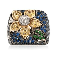 C. 1990 Vintage 5.36 ct. t.w. Multi-Stone Floral Ring in 18kt Two-Tone Gold.