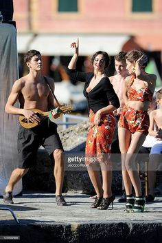 Simone Nobili, Monica Bellucci and Bianca Balti sighting on the set of a Dolce & Gabbana commercial on October 21, 2011 in Portofino, Italy.