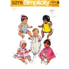 Vintage 1970s Doll Clothes Pattern Simplicity 5275 Doll Dress Romper Sunsuit Bunting Size 12 Inch - product images  of