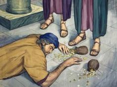Annanis and Saphiriah Bible Images, Bible Pictures, Ananias And Sapphira, Biblical Art, Sunday School Crafts, Bible Crafts, Religion, Painting, School Ideas