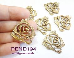 3 pcs Antique Gold Flat Rose Charm PEND194 by EarthlyJewels, $2.45