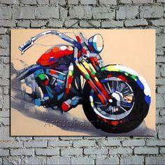 Pop Art Motorcycle Art  Handpainted  Oil Painting by ArtupPainting