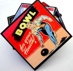 Bowling Coaster Set Retro Bowling Drink Coasters by CheltenhamRoad
