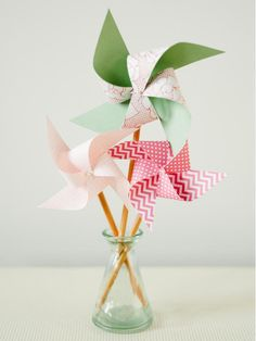 With just a little help from an adult, kids can craft these handmade paper pinwheels to add a splash of color to playtime.