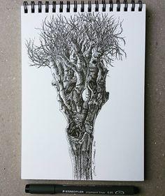 "Lidia Barragán.  #sketch #tree #dibujo #arbol #sketchbook #cuaderno #fineline #steadtler"""