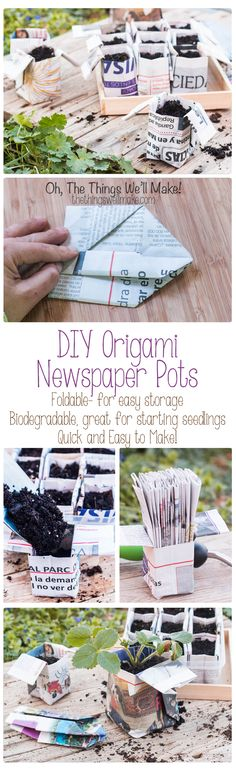 Fold your own quick and easy origami newspaper pots for your seedlings! These can be folded in advanced and stored in the folded position to save space. Because they are biodegradable, you can plant the seedlings with their pot and don't have to disturb Diy Gardening, Garden Crafts, Garden Projects, Container Gardening, Organic Gardening, Gardening With Kids, Permaculture Design, Origami Flowers, Origami Easy