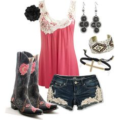 """Wildwood Flower"". Love the cowgirl boots and top but I'd wear a crocheted lace shrug and jeans, would be so cute for a summer night out boot scootin'!"