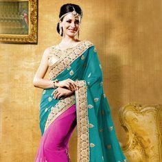 #Blue #partywear #Saree