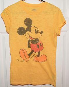Vtg Disneyland Mickey Mouse Graphic Tee Shirt in Mustard Yellow Woman's Medium #GraphicTeeShirt #Disney #MickeyMouse