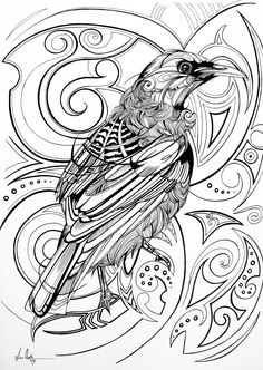 This piece was created for a limited edition adult colouring book by Warehouse Stationery called 'The Great New Zealand Colouring Book'. I absolutely love tui birds so when the brief stated that it had to be something New Zealand, there was no other choice for me. The illustration has many intertwining designs and patterns that I hope will make for some interesting colouring. Go to The Great New Zealand Colouring Book