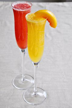 Strawberry & Peach Bellinis...champagne, simple syrup, strawberries, & peaches!
