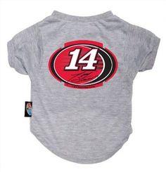 Dog Zone NASCAR Pet T-Shirt, Medium, Gray, Tony Stewart