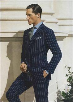 Chalk Stripe Suits for Men Blue