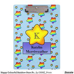 Happy Colourful Rainbow Stars Print Monogram Clipboard  #Onmeprints #Zazzle #Zazzlemade #Zazzlestore #Zazzlestyle #Happy #Colourful #Rainbow #Stars #Print #Monogram #Clipboard Rainbow Star, Clipboard, Office Gifts, Star Print, Business Supplies, School Supplies, Art Pieces, Monogram, Lettering