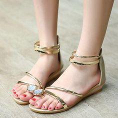 YesStyle - TULASI Rhinestone Shimmer Patent Low-Heel Sandals - AdoreWe.com