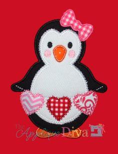 Valentine's Day Love Penguin Digital Embroidery Design Machine Applique